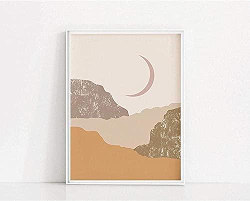 Impresión de pared 60x80cm Sin marco Crescent Art Print Luna Póster abstracto
