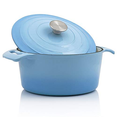 BBQ-Toro Cocotte I 4,0 Liter, Ø 24 cm I Emaillierter Gusseisen Bräter mit Deckel I induktionsgeeignet (Blau)