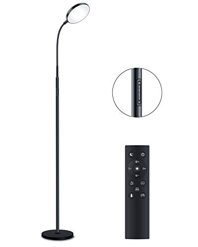 Floor Lamp - JOOFO LED Floor Lamp, Remote & Touch Control & 1 Hour Timer Reading Standing Lamp,4 Color Temperatures with Stepless Dimmer Torchiere Floor Lamps for Living Room Bedroom Office (Black)
