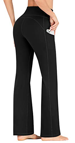 IUGA Bootcut Yoga Pants for Women with Pockets High Waisted Workout Pants Tummy Control Bootleg Work Pants for Women Black