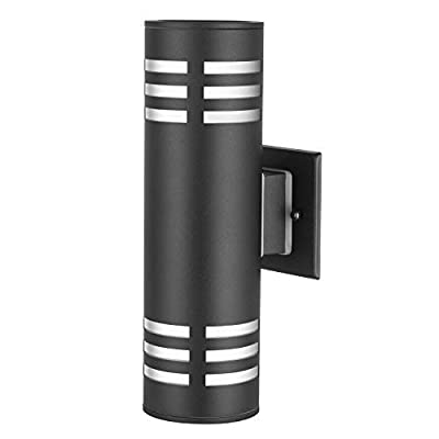TENGXIN Outdoor Wall Sconce,Up/Down Porch Light,Stainless Steel 304 and Toughened Glass,Black Finished,E27,UL Listed,13 Inch Height.