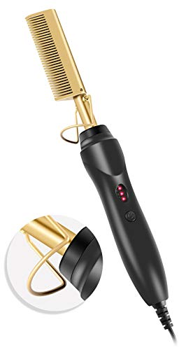Hot Comb Hair Straightener Comb, Electric Heating Straighten Comb, Anti-Scald Pressing Heated Comb for Men, Wet and Dry Hair, Security Portable Curling Iron Comb for Women (Hot Comb-Brown)
