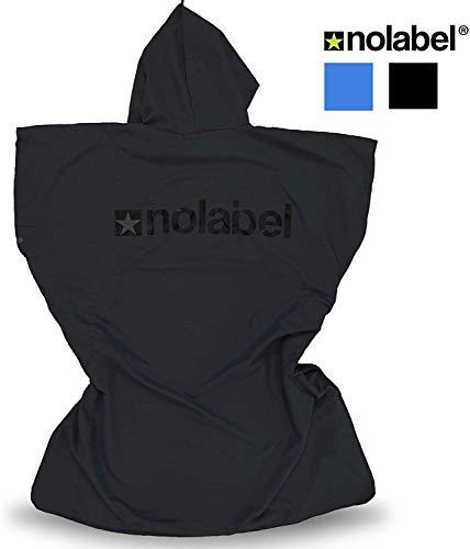No Label Mikrofaser Umkleidehandtuch Badeponcho - Umkleidehilfe mit Kapuze für Strand und Outdoor-Sport (Schwarz, Kinder - Large - XL)