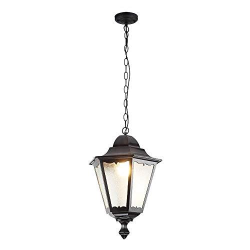 E27 Village retro hanglamp, zeshoekig, zwart, aluminium, glas, retro, eenvoudige hanglamp, waterdicht, IP44, hanglamp, tuin, paviljoen, terras, gang, balkon, verlichting, buitenlamp, 32 x H40 cm