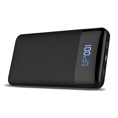 Powerbank 24000mAh Caricabatterie portatile display digitale ad alta capacità Extenal battery pack per iPhone//8 x 8PLUS, iPad Samsung Galaxy S9/S8, tablet e più (Nero)