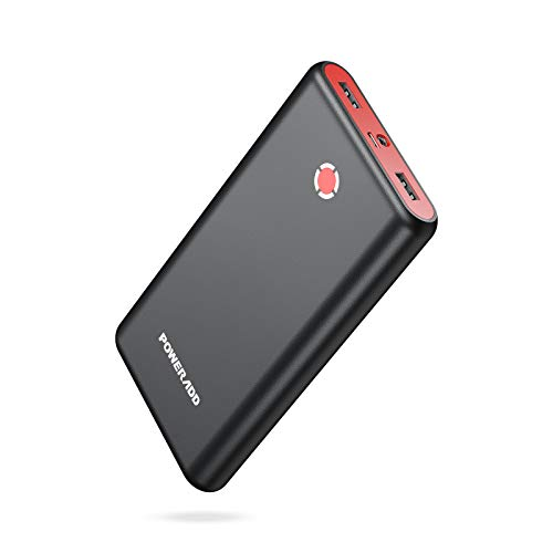 POWERADD [Upgraded] Pilot X7 20000mAh Portable Charger, Dual 3.1A Output External Power Bank with LED Flashlight, Compatible with iPhone, iPad, Samsung Galaxy and More - Black Red