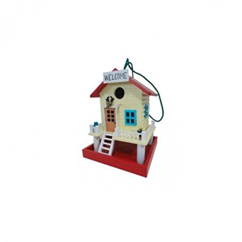 Unbekannt Vogelhaus aus Holz bunt Bemalt Welcome Terrasse MDF Nistkasten rot Mocca blau, Farbe:Rot