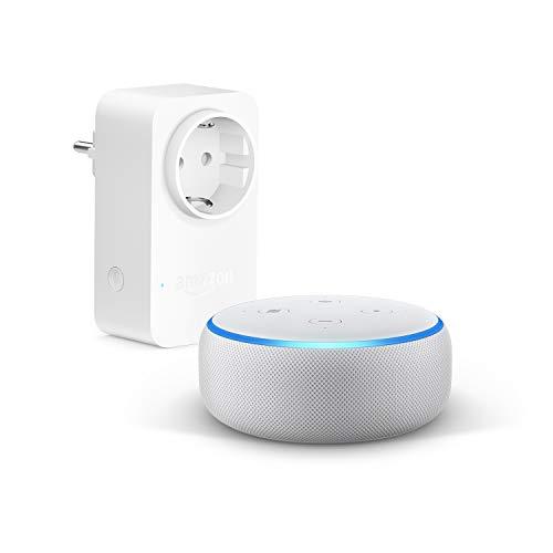 Echo Dot (3.ª generación), Tela de color gris claro +Amazon Smart Plug (enchufe inteligente wifi), compatible con Alexa