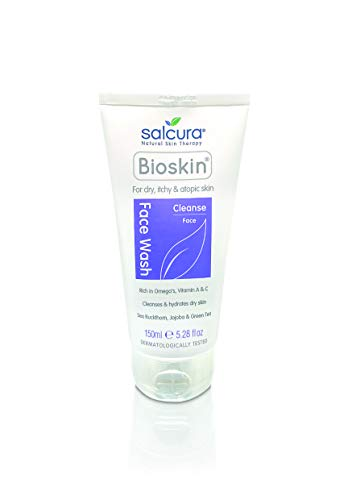 Salcura Natural Skin Therapy, Bioskin Face Wash, Natural Wash Cleansing All Impurities From Dry, Itchy & Sensitive Skin, Leaves The Skin Feeling Soft, Smooth & Nourished 150ml