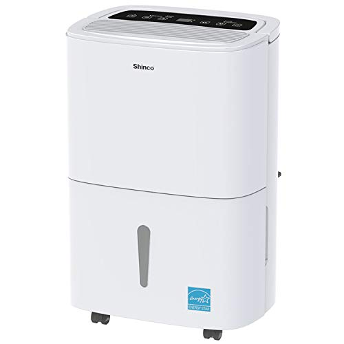 SHINCO 1,500 Sq. Ft. Dehumidifier, Energy Star Rated, for Medium Rooms and Basements, Continuous Gravity Drain, with Wheels, Quietly Remove Moisture...