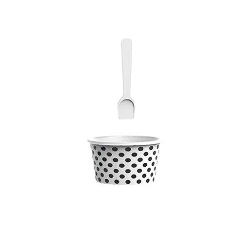 ZAK Dotty Eisbecher Ø 8 cm mit Eislöffel, weiß/schwarz