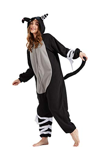 Pijama Animal Entero Unisex para Adultos con Capucha Cosplay Pyjamas Ropa de Dormir Traje de Disfraz para Festival de Carnaval Halloween Navidad Vendaje Gato Negro S(148-155CM)