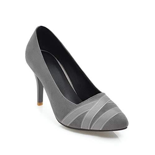 Frühlings Stiletto High Heel Bequeme Matte Größe Damenschuhe, grau, 35