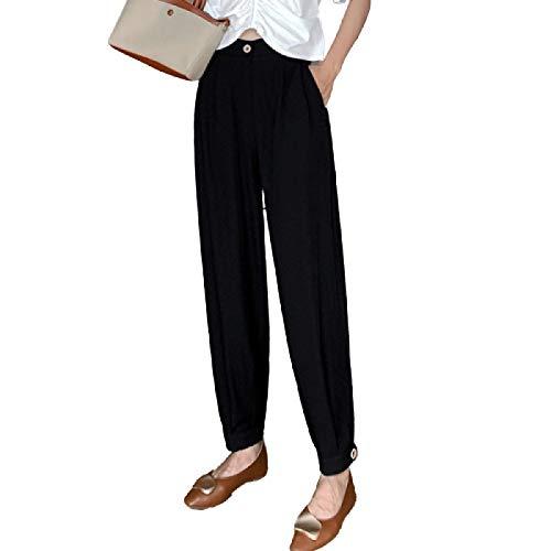 Pantalón de Corte de Bota cómodo de Cintura Alta para Mujer, Ocio Diario, Color sólido, Trabajo de Oficina, Pantalones Formales de harén recortados S