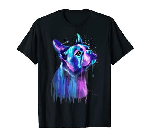 Pintura colorida de la acuarela del arte del perro de Boston Terrier Camiseta