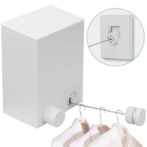 COITEK 4 Meter ausziehbare Wäscheleinen, Wäscheleine Ausziehbar für Innengebrauch Wand Wäscheleine mit ABS Gehäuse und Einstellbarer Stahleinlage Edelstahl Wäsche Leine