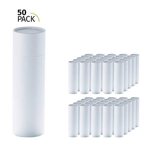 50er Pack, betubed runde Pappdose Papierdose Geschenkverpackung, Farbe: weiß Durchmesser 66mm, Höhe 215mm, plastikfrei und nachhaltig.