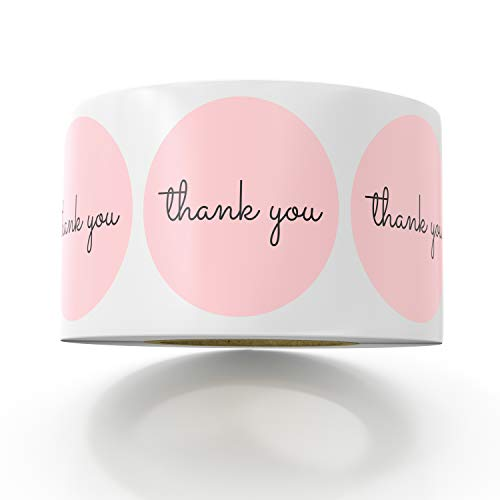Sweetzer & Orange Thank You Stickers   1.5 inches   1000 Pink Stickers for Company Giveaway & Birthday Party Favors   Labels & Mailing Supplies for Small Business Boutique Bags & Merchandise Bags