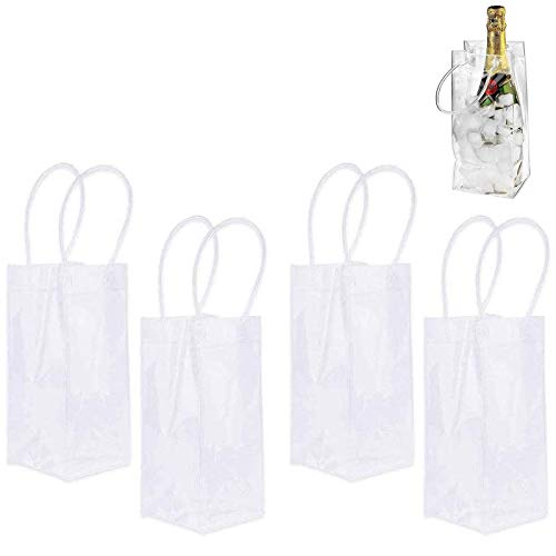 Bolsa de Hielo para Vino Champán, 4 Pcs Bolsa de Hielo A Prueba de Fugas de Pvc Bolsa de Vino de Hielo Transparente Plegable Cubo de Hielo Portátil Para Vino con Asa para Champán Bebidas Heladas