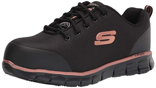 Skechers Women's Lace up Athletic Safety Toe Industrial Shoe, Black/Gold, 10
