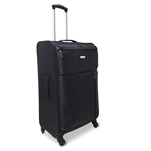 Bloc London - Ultra Lightweight (2.5kg) & Super Tough Soft Trolley Spinner Luggage Suitcase (Medium, Black)