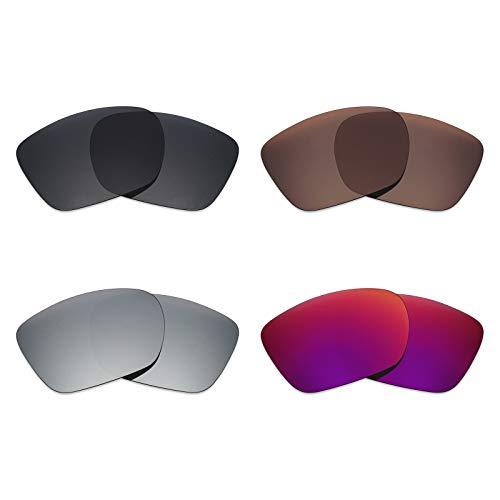 Mryok 4 Paires polarisées Lentilles de Remplacement pour Oakley Twoface XL Lunettes de Soleil – Stealth Noir Marron/Bronze/argenté Titane/Soleil de Minuit