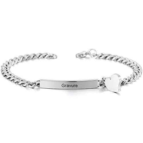 MeMeDIY Ton d'argent Acier Inoxydable Bracelet Lien Coeur Cœur Poli - Gravure personnalisée