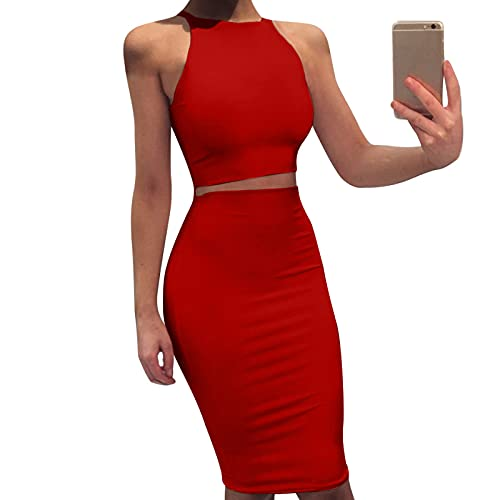 Señoras Retro Sin Mangas Elástico Color Brillante Delgado Chaleco De Dos Piezas Vestido Rojo M