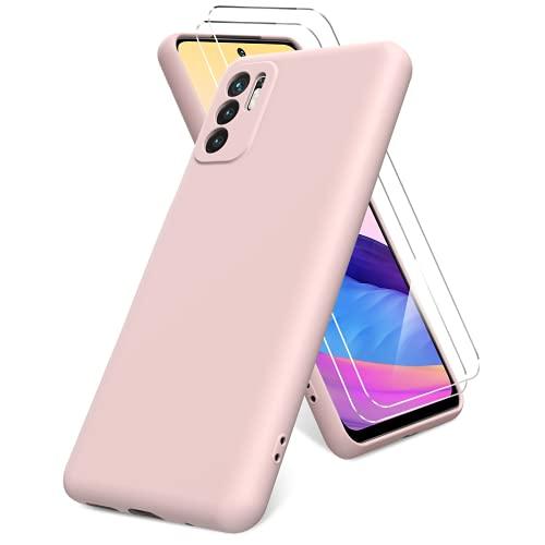 Vansdon Funda Compatible con Xiaomi Redmi Note 10 5G, 2 Unidades Protector Pantalla Cristal Templado, Silicona Líquida Gel Ultra Suave Funda- Rosa