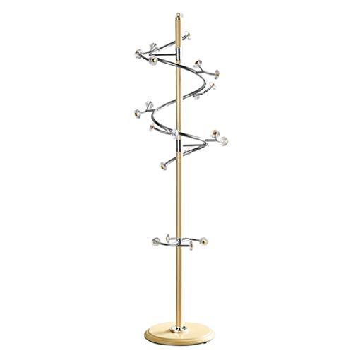 QIFFIY Perchero de metal de pie, con base pesada, soporte de entrada con 23 ganchos, para abrigos, sombreros, para entrada, pasillo de madera (color dorado)