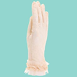 SHENTIANWEI Women's Sun Protection Gloves Bow Lace Short Gloves (Color : Beige, Size : L-One pair)