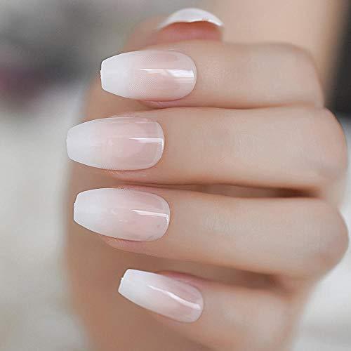 TJJF French Ballerina Fake Nail Gradeint Natural Coffin False Nails Wholesale Nails Supplier 24