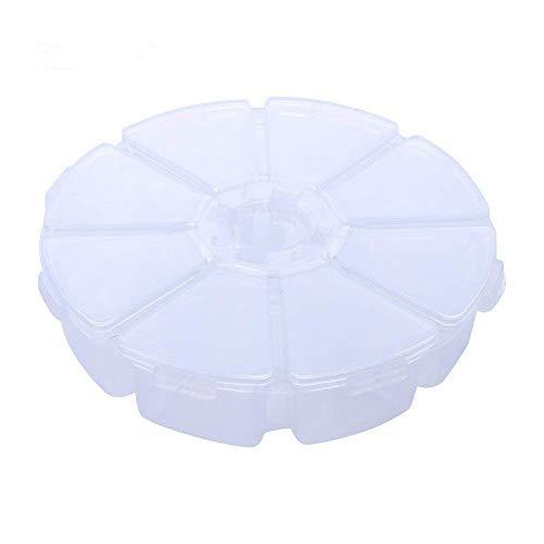 2 pièces ronde multifonctions Creative 8 compartiments de stockage en plastique contenants alimentaires doux étain fruit boîte de bijoux plateau 10.3 * 2.6cm