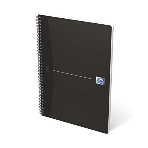 Oxford 100100759 Quaderno Maxi Spiralato, Formato A4, 180 Pagine, Carta 90 gr, Rigatura 5 mm, App Scribzee, Nero