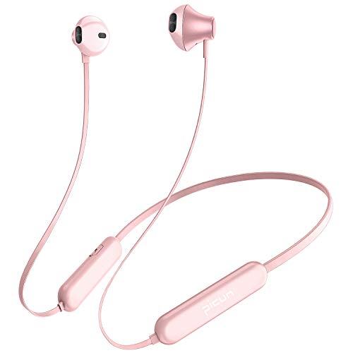 Picun X2S Bluetooth Kopfhörer Kabellos 20 Stunden Akkulaufzeit, Bluetooth 5.0 Sport Kopfhörer mit HD Stereo Sound, IPX5 wasserdichte, Magnetische Wireless Ohrhörer für Frauen Chat Running (Rosegold)