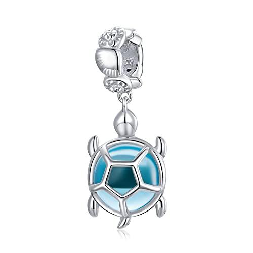 LISHOU DIY S925 Colgante De Tortuga Azul De Plata Esterlina Encantos con Cuentas Pulseras Pandora Collares Cuentas Sueltas para Mujer Regalo De Fabricación De Joyas