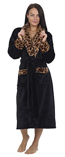 CityComfort Damen Morgenmantel Mit Kapuze - Fleece Morgenmantel Lang Winter Warm Weich Fleece - Super Flauschiger Morgenmantel Leopard/Grau- Geschenk Für Frauen (S, schwarz)