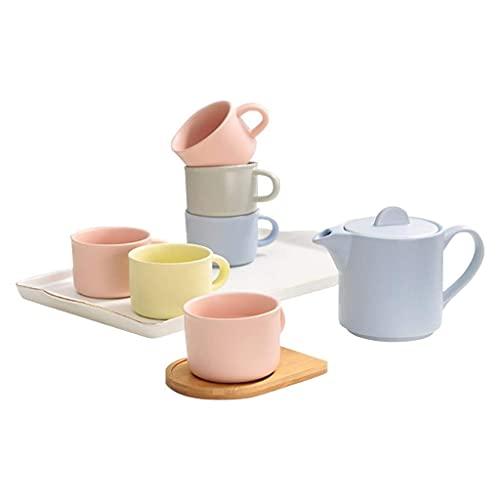 FGDSA Tea Set Coffee Cup Set Ceramic Cup Home Afternoon Tea Set Candy Color Cup Tea Gift Sets (Color : A)