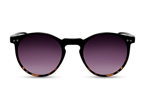 Cheapass Gafas de Sol Redondas Negras Marrones UV400 Vintage Retro Muj