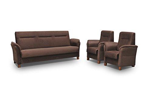 mb-moebel Polstergarnitur Sofa Set 3er Couch & 1er Wohnlandschaft 3-Sitzer und Zwei Sessel Möbel Set - Anna (Braun)