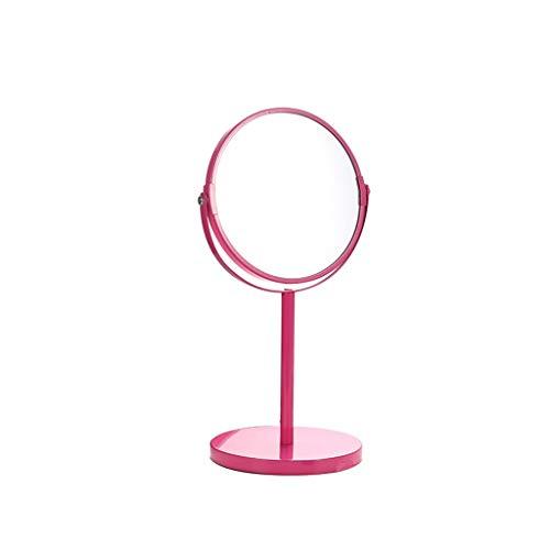 C-J-Xin Rose Miroir rond, maquillage métal fille miroir double face 360 ° Miroir salle de bains Beauté Base antidérapante Coiffeuse Miroir Miroir de maquillage (Color : Pink, Size : 34 * 16CM)