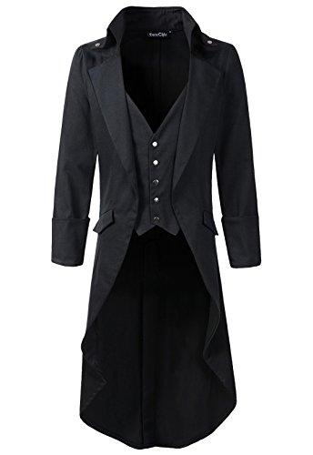 Herren Mantel in Frack-Optik mit Westeneinsatz, Gothic / Steampunk / viktorianischer Stil, hoher Kragen Gr. XXL, schwarz