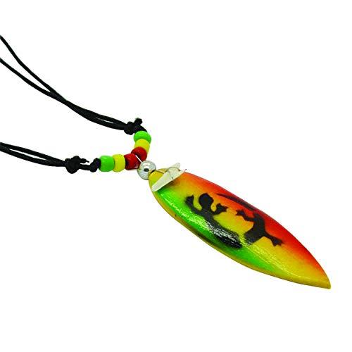 Dientes de tiburón rojo cuentas de madera ajustable hombres collar cuero playa Boho