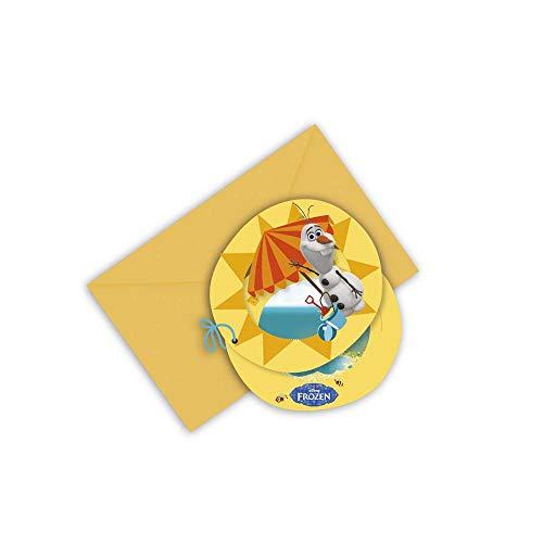 Unbekannt 12x Frozen Olaf Sommer Gestanzte Einladungskarten mit Umschlag