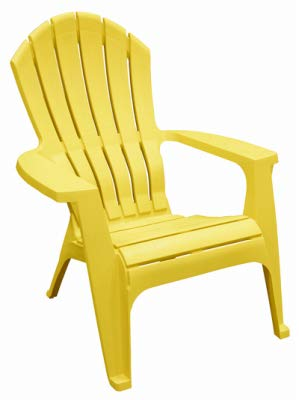RealComfort 8371-19-3700 Adirondack Chair, Ergonomic, Resin, Yellow - Quantity 24