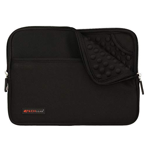TECHGEAR Pro Sleeve [10] Schutzhülle aus Neopren mit Reißverschluss & Anti-Shock Bubble Interieur für iPad Air 4 10.9, 10.2, iPad 9.7, Pro 11, Pro 10.5 iPad Air (2019) Air 2, Air, iPad 4 3 -Schwarz