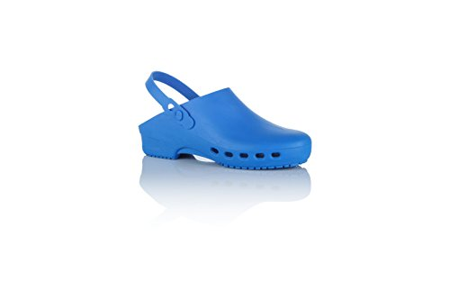 Safe Way Zuecos médicos de trabajo, autoclave, correa en el talón, tallas dobles., color Azul, talla 42 EU