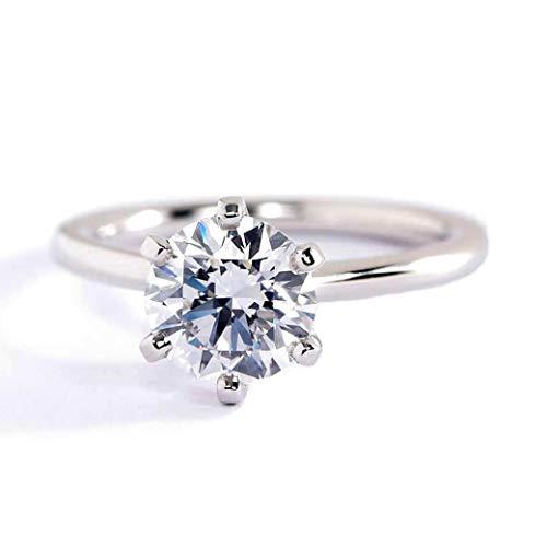 Anillo de compromiso de diamante solitario de 0,90 quilates SI2 F de corte redondo pequeño SI2 F de 0,90 quilates con diamante solitario de platino y oro blanco de 18 quilates