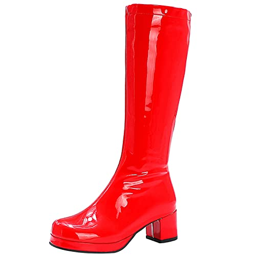 Lizzhen Mujer Fiesta Knee Charol Punta Redonda Cremallera Tacón Ancho Plataforma Botas De Montar Boda Moda Noche Prom Vestido Invierno Boots Rojo Talla 33 EU
