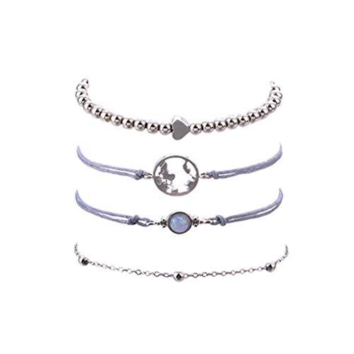 LoveAloe 4 Teile/Satz Exquisite Persönlichkeit Karte Opal Perlen Kette Armband Naturstein Armbänder Für Frauen, Silber Farbe